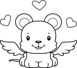 Cartoon Smiling Cupid Mouse