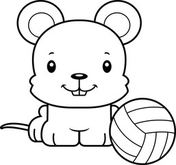 Cartoon Smiling Volleyball Player Mouse