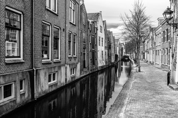Black and white Alkmaar cityscape, the Netherlands