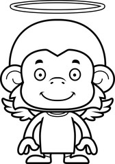 Cartoon Smiling Angel Monkey