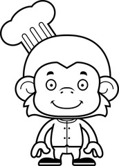 Cartoon Smiling Chef Monkey