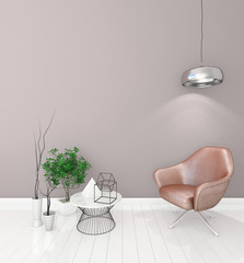 mock up modern interior background with armchair for your presentation, light color, 3D render