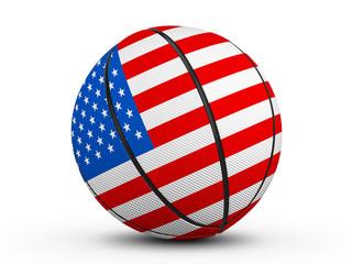 Basketball ball USA flag
