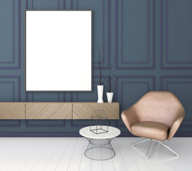 mock up poster frame in classic interior background, modern style, 3D render, 3D illustration