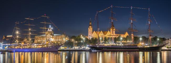 Big sailing ships at night at haken terraces in Szczecin, Tall ship races 2017