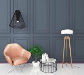 mock up classic interior background, modern style, 3D render, 3D illustration
