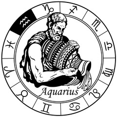 aquarius astrological horoscope sign in the zodiac wheel. Black and white vector illustration