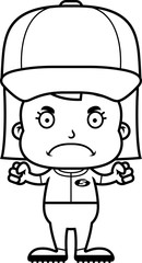 Cartoon Angry Baseball Player Girl