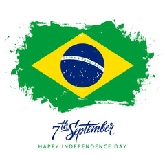 Brazil Independence Day, 7 september greeting card with hand lettering and brazilian national flag brush stroke background. Vector illustration.