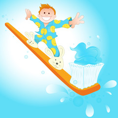 Happy Morning with toothbrush sliding kid
