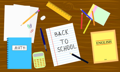 Back to school - table with school equipment. Book, pencil, calculator, pen on the wooden table. Vector illustration