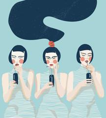 Three Girls in Blue