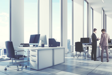 White open office environment, corner, men