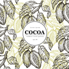 Cocoa beans vector seamless pattern. Engraved vintage style illustration. Chocolate cocoa beans. Banner template.