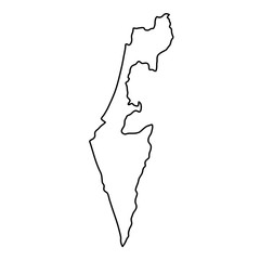 Israel map of black contour curves of vector illustration