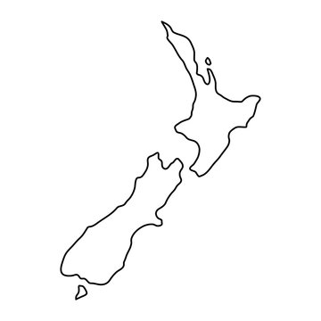 New Zealand map of black contour curves of vector illustration