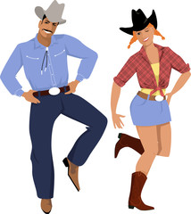 Couple dressed in traditional country western clothes dancing line dance, EPS 8 vector illustration