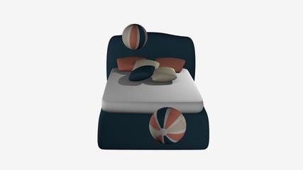 türkises Boxspringbett aus Vorderansicht mit hüpfenden Softbällen