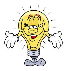 Cartoon Bulb Presenting Vector