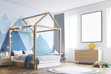 Kid s bedroom interior, poster, corner