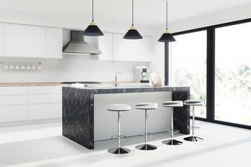 White kitchen marble bar, stools