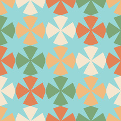 Seamless pattern with geometric figures and eight-pointed stars