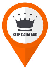Keep calm and orange pointer vector icon in eps 10 isolated on white background.