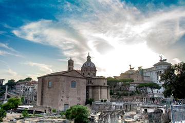 Italian architecture of Rome. Atmospheric city. Famous, the main attractions.
