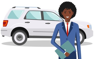 African american businesswoman standing near the car on white background in flat style. Business concept. Detailed illustration of automobile and woman. Flat design people character. Vector.
