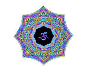 Colorful textured Om/Aum sanskrit symbol, isolated. Decorative pattern in oriental style with the ancient Hindu mantra OM.