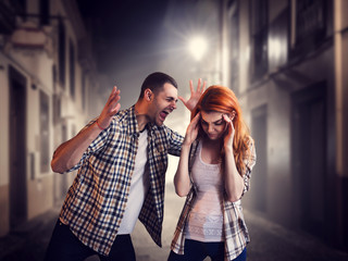 Evil man screams at woman, family quarrel