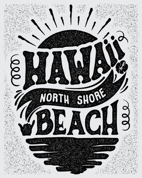 Vector illustration Hawaii, North Shore beach.