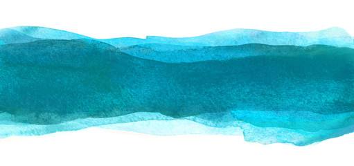 Watercolor backdrop spots Stripe detail for design. The color of the sea wave. Blue