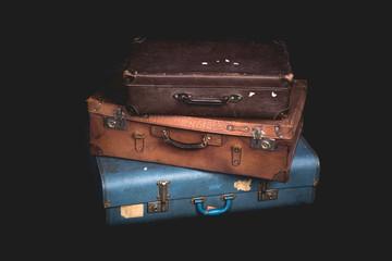 Set of old suitcases, Vintage baggage