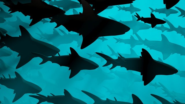 School of sharks swimming in blue water. 3d rendering. Side view .