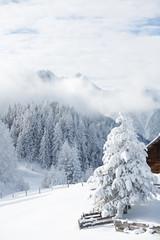 Fototapete - Alpenlandschaft im Schnee