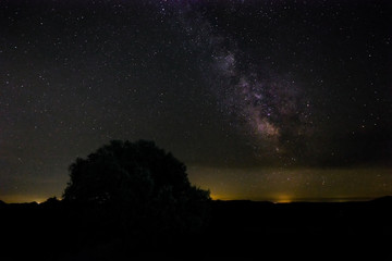 Milky Way. Night photography in the Natural Area of Barruecos. Extremadura. Spain.
