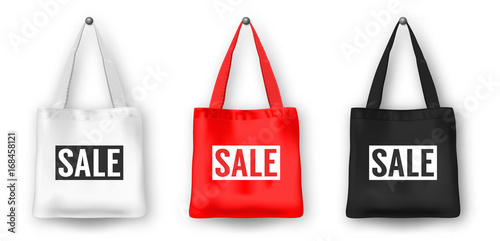Realistic Vector Black White And Red Empty Textile Shopping Tote