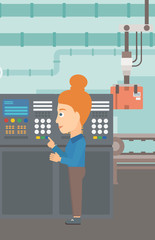 A woman working with control panel at factory workshop vector flat design illustration. Vertical layout.