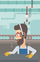 A hipster man with the beard working on a steel-rolling mill on the background of factory workshop with conveyor belt vector flat design illustration. Vertical layout.