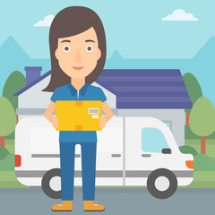 A delivery woman carrying box on the background of the city and delivery truck vector flat design illustration. Square layout.