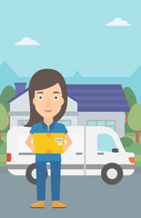 A delivery woman carrying box on the background of the city and delivery truck vector flat design illustration. Vertical layout.