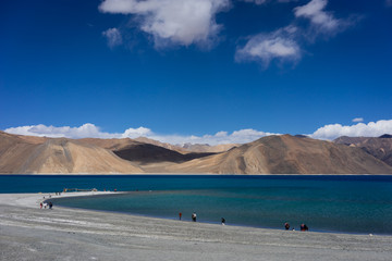 Pangong the blue lake and blue sky view, Ladakh, India