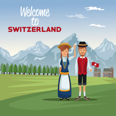 mountain landscape valley poster with traditional people with text welcome to switzerland vector illustration