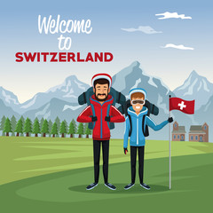 mountain landscape valley poster with tourist couple people and text welcome to switzerland vector illustration