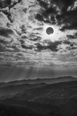 Wall Mural - Scientific natural phenomenon. Total solar eclipse with diamond ring effect glowing on sky.