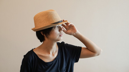 New generation hipster life style short hair Aisan woman with copy space