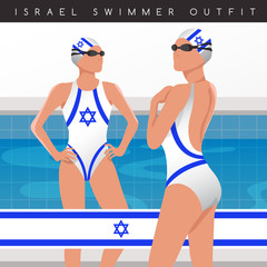 Female Swimmers : Swimmers in National Swimsuits : Vector Illustration