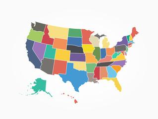 Spoed Foto op Canvas Wereldkaart Map of United state of america . Flat color design
