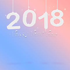 2018 Happy new year white color hanging at pastel pink gradient to blue studio room,Hoilday greeting card,Mock up for display or montage of product (3d rendering)